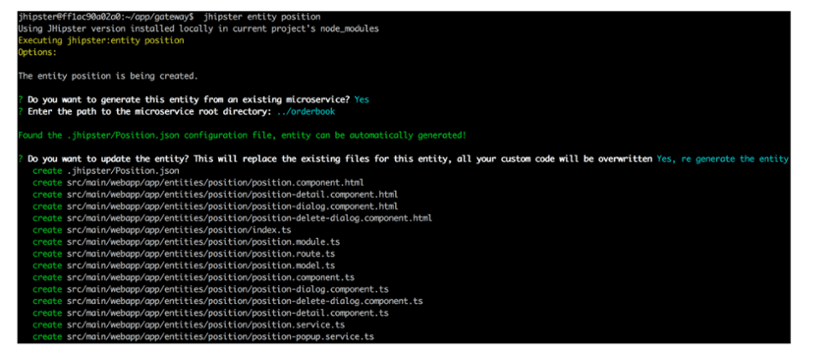JHipster generator terminal output