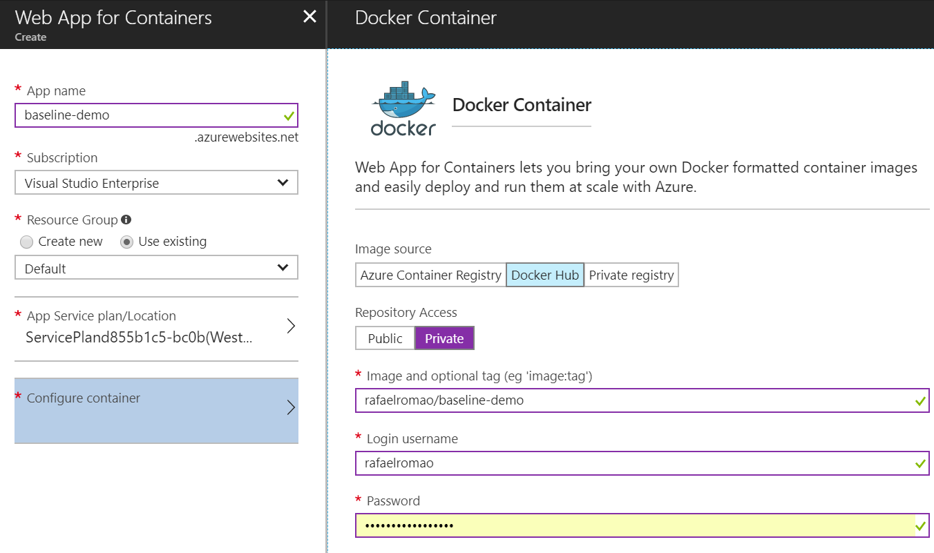 Screenshot of the Azure Portal showing the container settings for a Web App for Containers